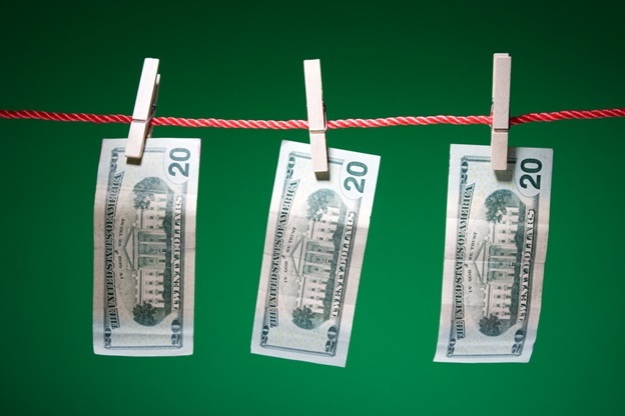 money on a clothes line